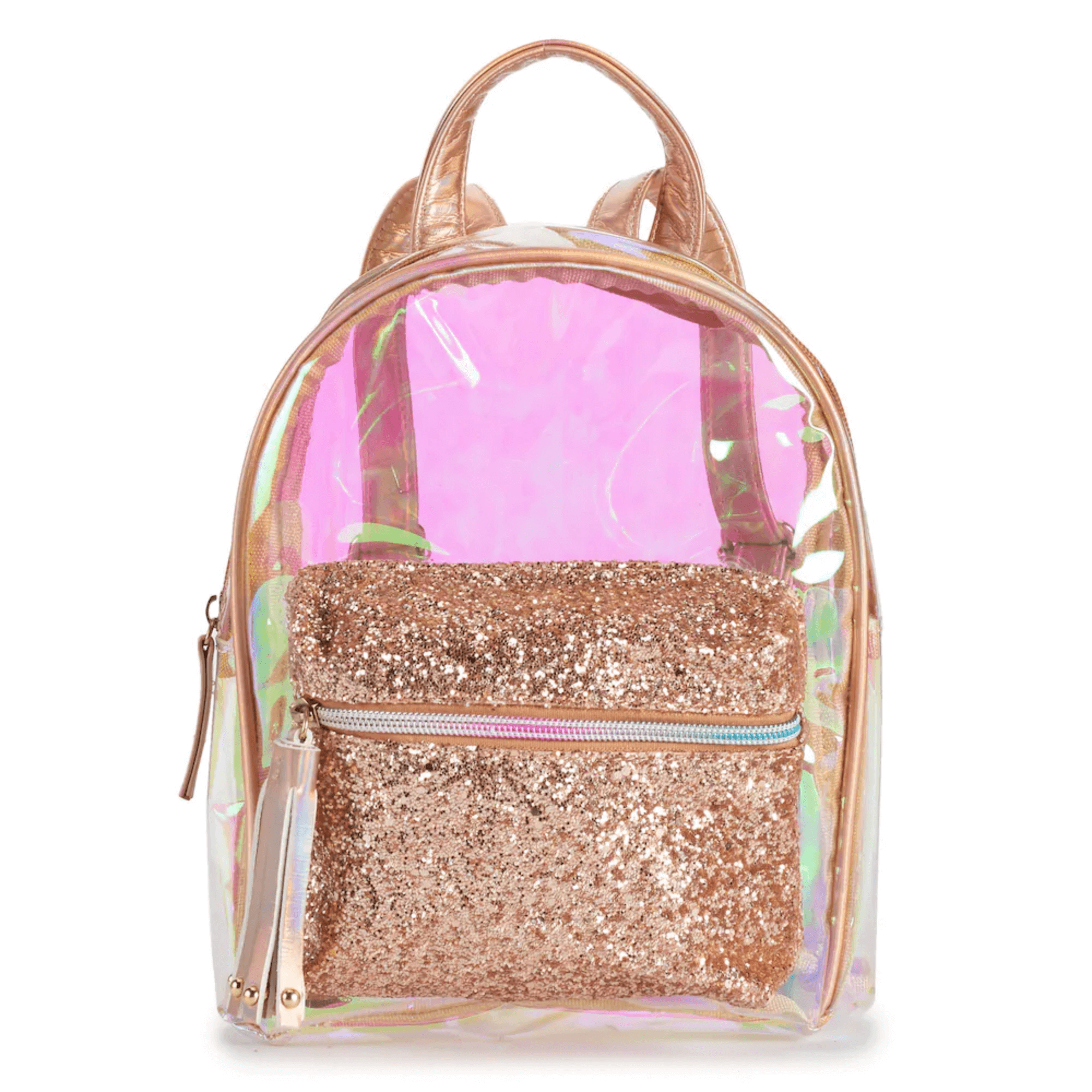 Clear Iridescent Mini Backpack w/ Glitter