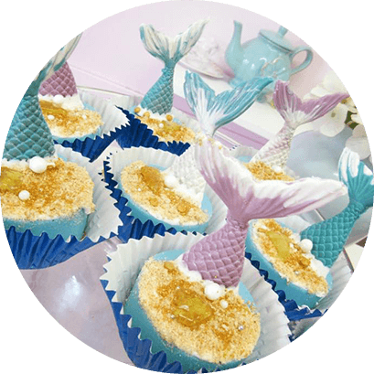 Mermaid Tail Pink and Blue Cupcakes