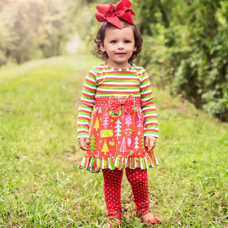 Christmas Tree Dress and Leggings Set