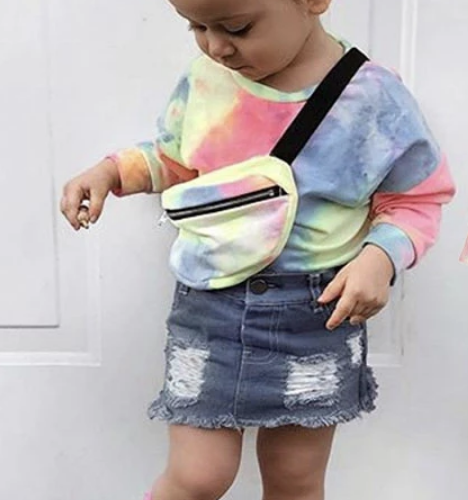 Tie Dye Top With Jean Skirt