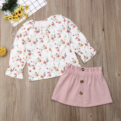 Pink Skirt and Floral Top Set